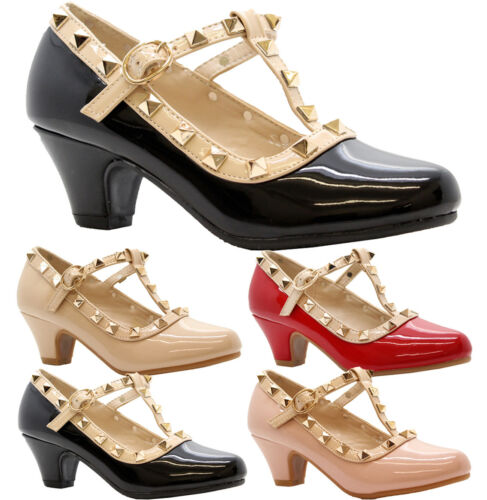 Girls Kids Low Mid Heel Rock Studded Mary Jane Party Prom Pumps Court Shoes Size