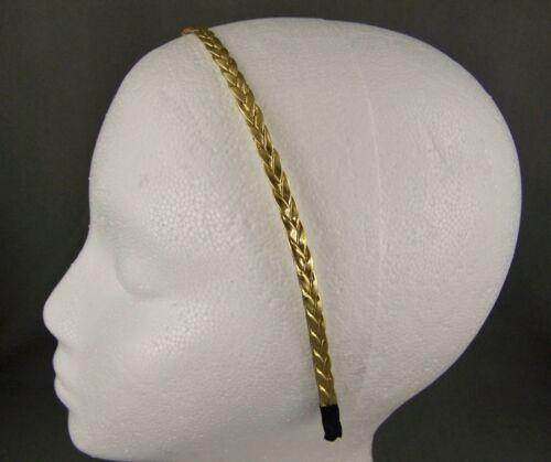 "Gold faux leather thin skinny narrow 1//4/"" wide braided metal headband braid"
