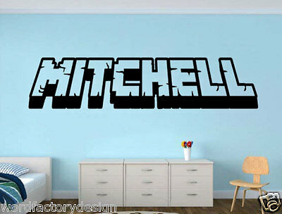 Personalized Gaming 3D Wall Decal Gamer Name Decal inspired Minecraft