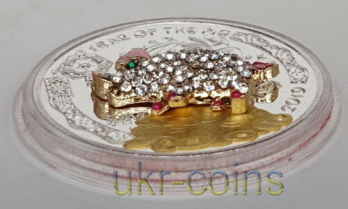 2019 Congo 豬 Chinese Lunar Year of the Pig 3D Gilded Silver Color Coin Gemstone