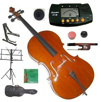 NEW CELLO,BAG,BOW+ROSIN,2 SETS STRINGS,BRIDGE,TUNER,2 STANDS,MUTE,STOPPER