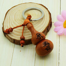 Feng Shui Peach Wood Carved WuLou/Hu Lu Key Chain Ring Amulet for protection