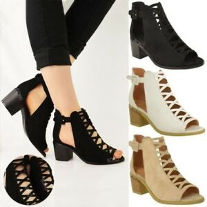 Mujer-bajo-Sandalias-con-Cuna-Cordones-Corte-Zapatos-Tira-en-Tobillo-Talla