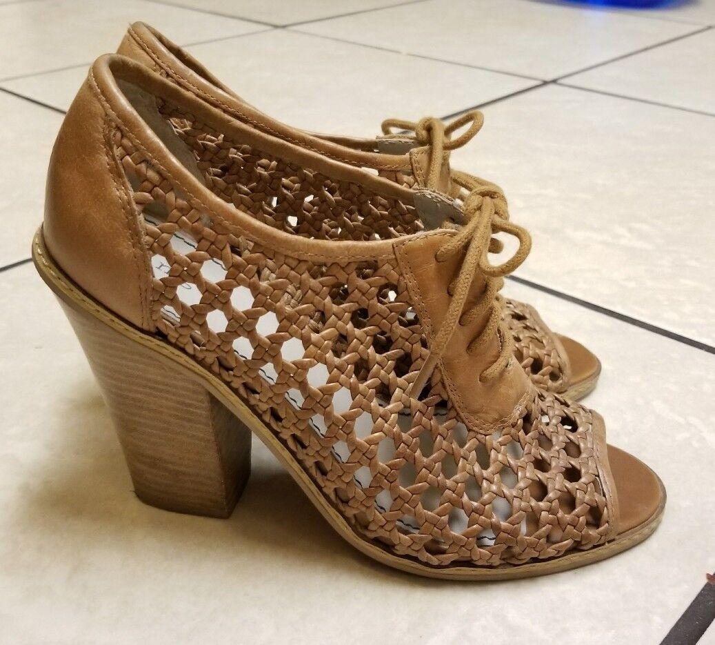 Nordstrom HINGE Basket Weave LEATHER Peep Toe shoes  120 WOMENS SZ 8.5