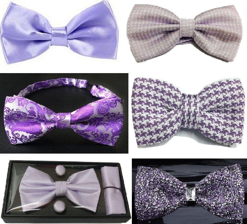 Purple Bow Tie Collection Mens vorgebunden Wedding Ball Knit Satin Crystal