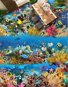 3D Corals Sea Fishs 5 Floor WallPaper Murals Wall Print 5D AJ WALLPAPER UK Lemon