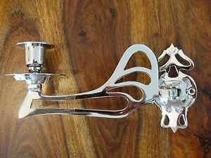 Klavierleuchter-Kerzenleuchter-Kerzenhalter-Jugendstil-Silber-Antik-Mobelleuchte
