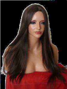 Ladies Brown long poker straight Women Fashion Costume Natural Hair adult Wig O4