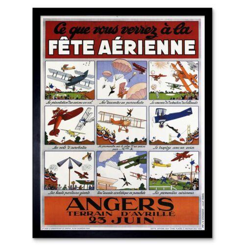 Exhibition Air Show Airplane Aeroplane France Biplane Vintage Framed Art Print