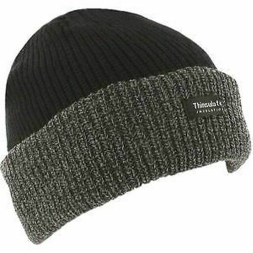 Men Knitted Hat Thermal insulated Winter Wooly Chunky Beanie Black//Grey