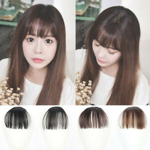 Fake Long Blunt Bangs Mini Clip-In Hair Extension Synthetic Hair ...