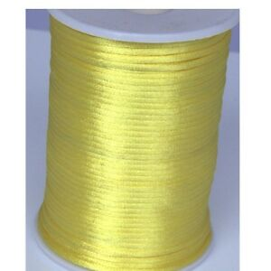 YELLOW-2mm-Rattail-Satin-Cord-Macrame-Beading-Nylon-kumihimo-String-DIY-10yds
