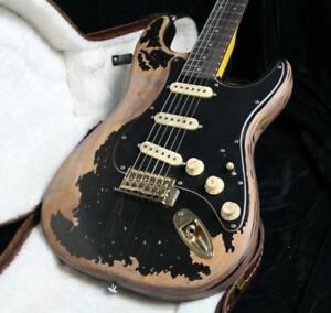 Top-Quality-Relic-ST-Electric-Guitar-Eged-Gold-Hardware-One-Piece-Mahogany-Body