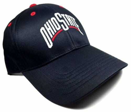 BLACK OHIO STATE UNIVERSITY BUCKEYES HAT CAP ADJUSTABLE LOGO CURVED BILL RETRO