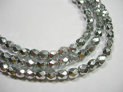 100 Metallic Silver Fire Polish Czech Glass 4mm beads