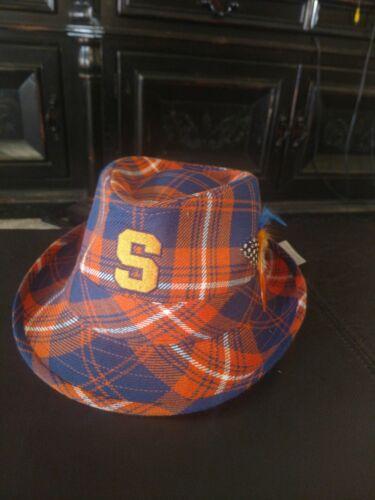 New RARE Syracuse Orangemen MENS SIZE L HONOUR SOCIETY PLAID FEDORA HAT