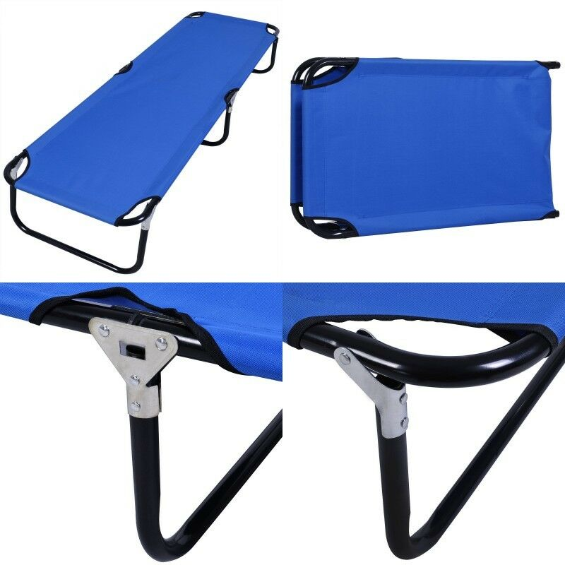 bluee Outdoor Portable Folding Camping Bed Military Cot Sleeping Hiking Travel US