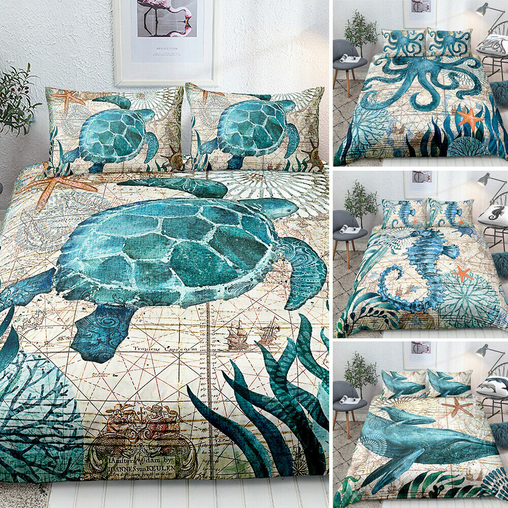 3D Sea Animals Horse Turtle Whale Printed Bedding Set Duvet Cover Pillowcase 3PC