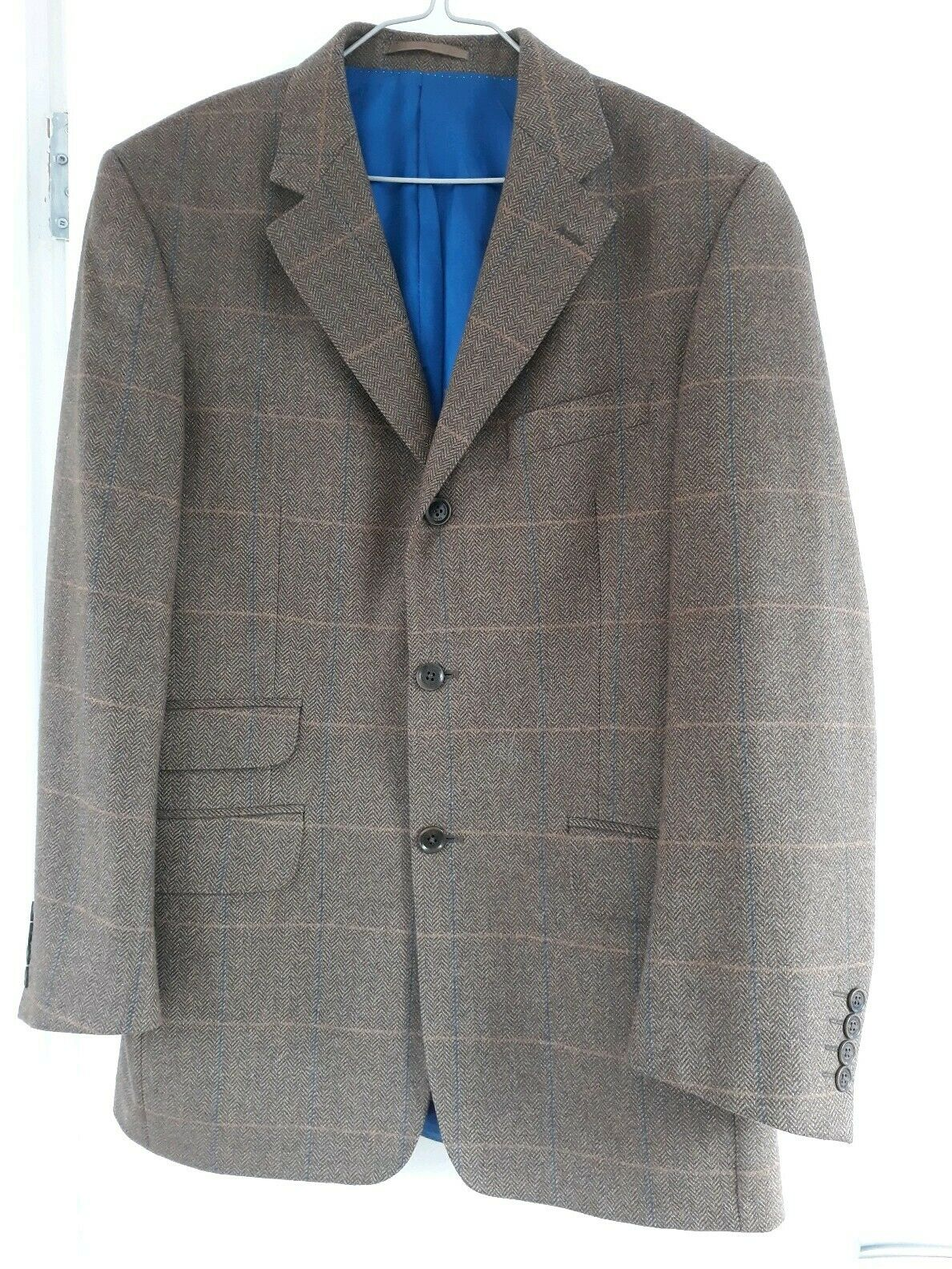 Racing Grün Italian Made Styled braun Cashmere Wool Checked Jacket -Mens 38 R