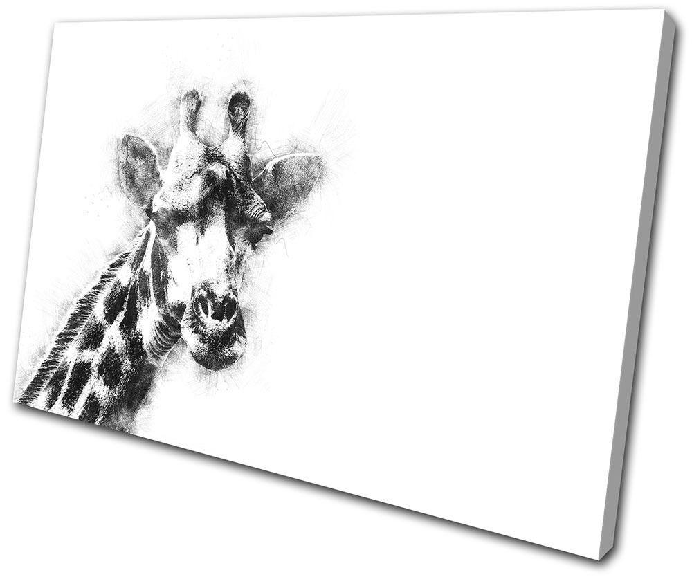 Giraffe Abstract Scribble Animals SINGLE TOILE murale ART Photo Print
