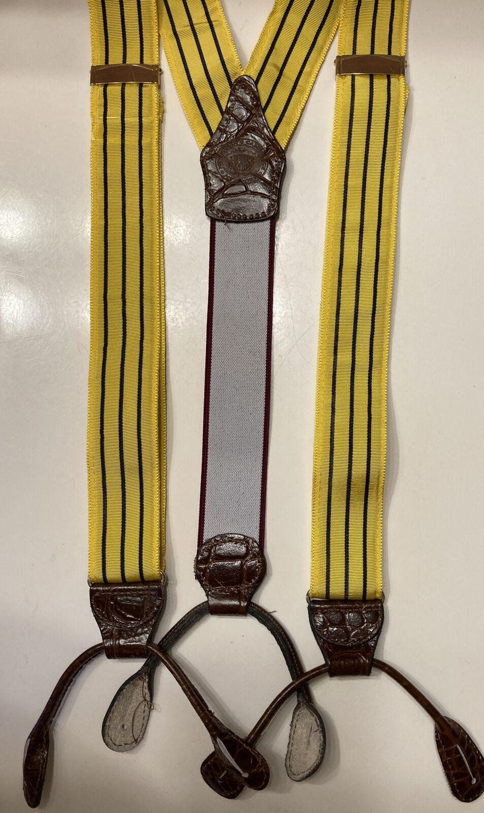 J. Press Men's Suspenders Braces Button On Yellow Navy Blue Stripe Ribbon Straps