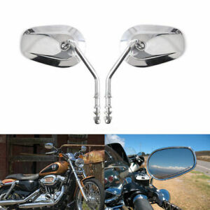 Pair Oval Motorcycle Parts Rear View Mirrors For Harley Chrome For Harley Dyna Ebay