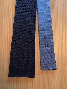 Cravate Hermès En Maille 100% Soie Réversible Bleu Marine/Ciel