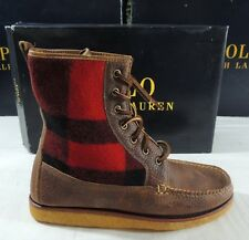 Polo Ralph Lauren Vandan Grained Buffalo Wool Palid Leather USA Boots Shoes 9 D
