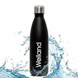 Water-Bottle-Flask-Hydro-Black-17oz-Stainless-Steel-Aqua-WELLAND