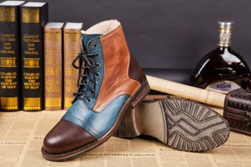 Retro Men/'s Real Leather Boots Lace Up Assorted Colors High Top Round Toe Shoes