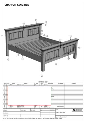 BUILDING PLANS MAKE YOUR OWN /& SAVE $$$ FOR CRAFTON KING SIZE TIMBER BED