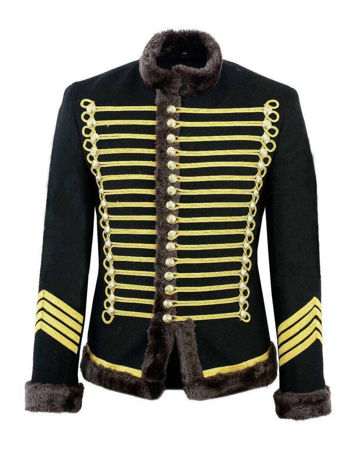 Hussar Jimi Hendrix Inspirot Parade jacke Military Drummer Officer Faux Fur