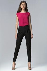 9e72eb0b13ec0 Pantalon femme noir à pinces chic habillé taille haute SD17 Nife 34 ...