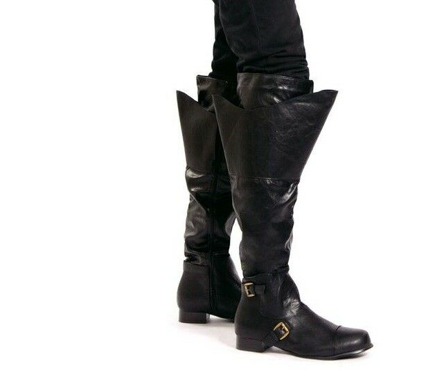 Mens Black Historical Nobleman Renaissance Fair Pirate Tall Cuff Fold Boots 9 10