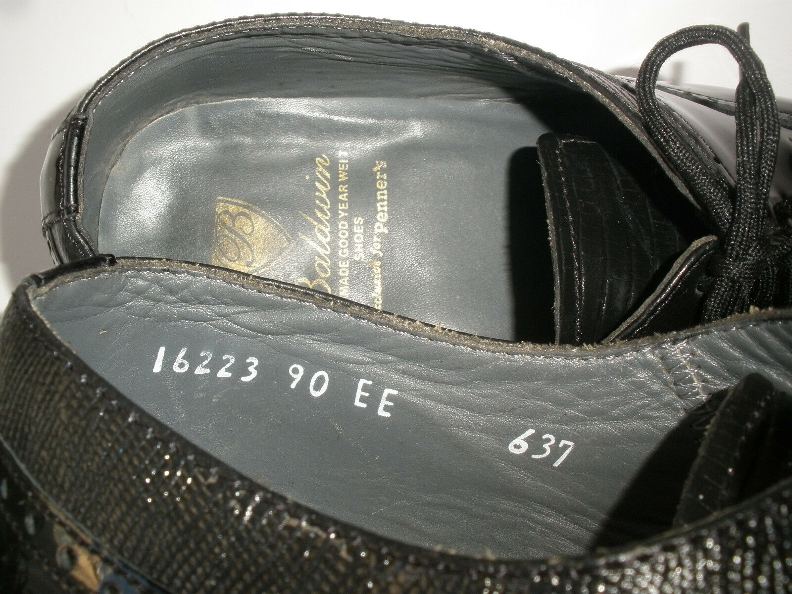 BALDWIN FOR TIP PENNER'S WING TIP FOR BLACK LEATHER OXFORD SIZE  US 9EE  MADE IN MEXICO 0fd2d2