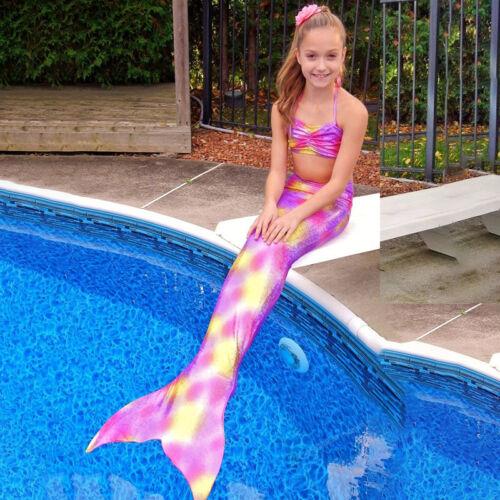 Kids Girls Swimsuit Swimmable Mermaid Tail Bikini Swimwear Beachwear Fancy Dress