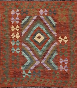 3x3-Square-Kilim-Southwestern-Hand-Woven-Reversible-Area-Rug-Oriental-Home-Decor