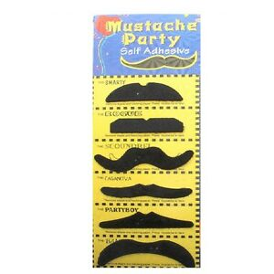 Pack of 6 Self adhesive Assorted Fake Moustache Mustache Set Fancy DressParty