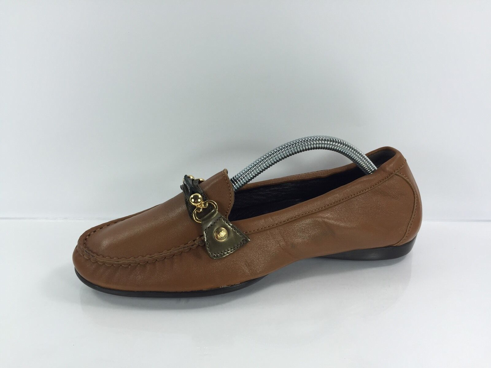 AGL Women's Brown Leather Flats 38