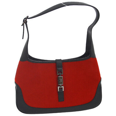 83c33e954813e Authentic GUCCI Jackie Hand Bag Red Black Fur Leather Italy Vintage ...