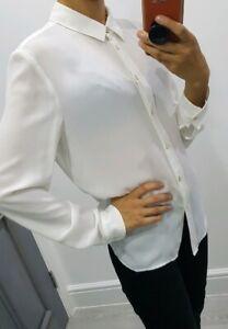 T-M-Lewin-cream-colour-long-sleeve-chiffon-button-up-shirt-size-UK-10