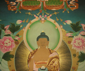 Besonders edles MASTERPIECE Thangka Shakyamuni Buddha NEPAL 24K Gold 71x55cm ALT