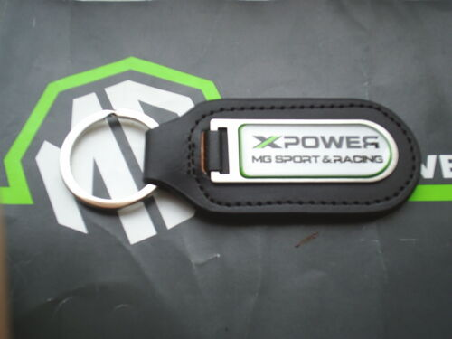 MGF MG F Xpower MG Sport /& Racing Genuine Leather Keyfob Keyring Silver