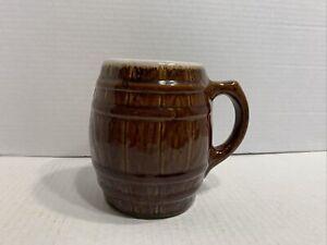 McCoy Brown Barrel Mug Coffee Pottery White Drip Glaze Edge Vintage 1920