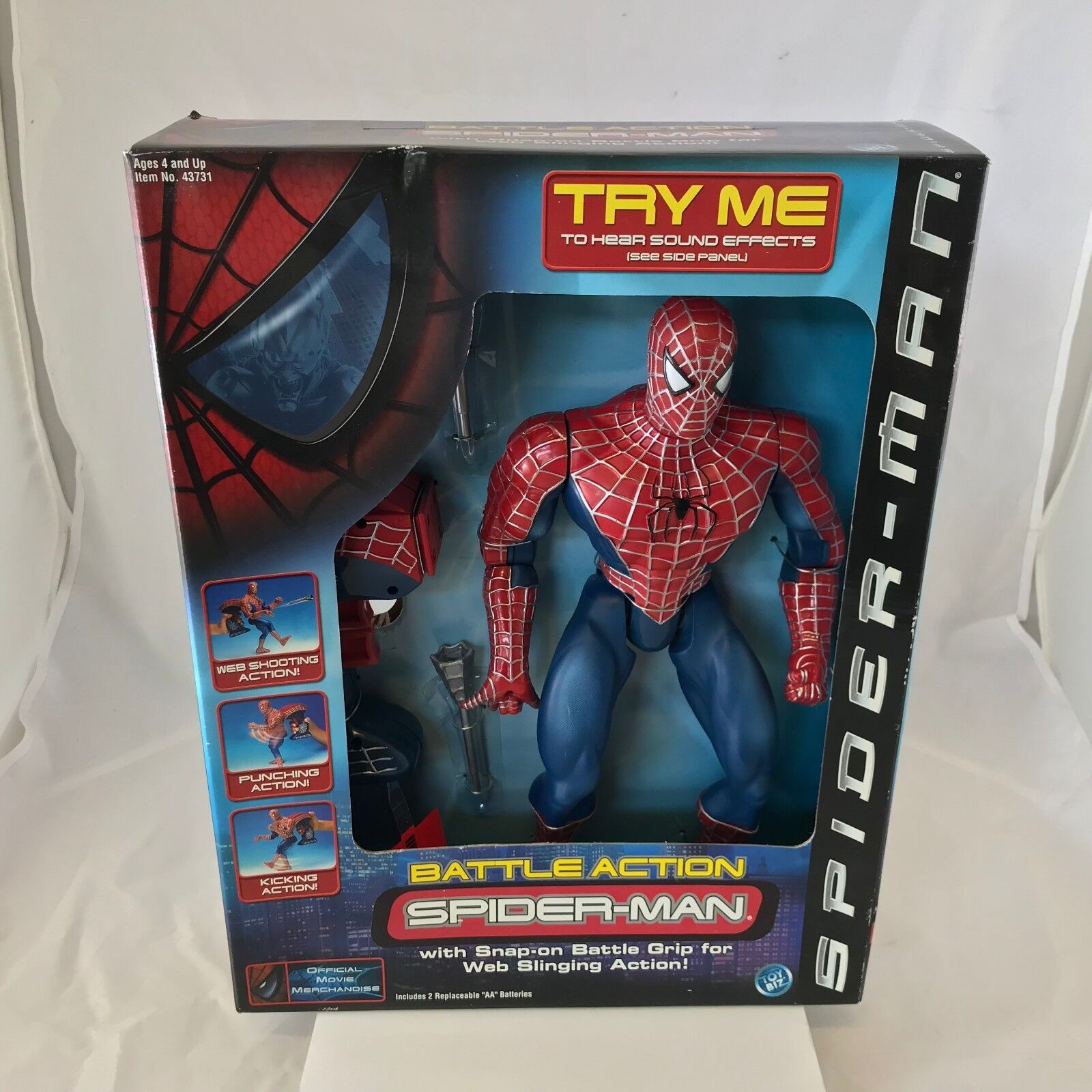 New 2001 ToyBiz Battle Action Spiderman Action Figure Sealed Spider-Man NIB