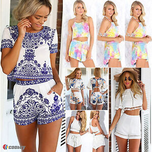 Womens Two Pieces Co-ord Summer Rompers Boho Crop Tops Shorts Set ... 3c00bf484