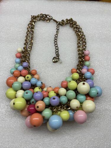 Betsey Johnson Runway Pastel Beads Necklace Rare
