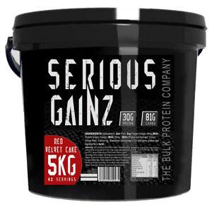 Serious GAINZ Mass Gainer - 5kg - Whey Weight Gain Protein Powder (Red Velvet)