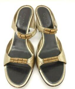 Cole-Haan-Gold-Leather-Slip-On-Open-Toe-Pumps-Heels-Shoes-Women-039-s-8-B