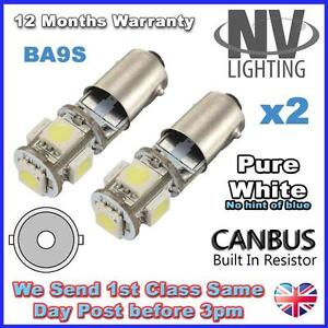 2 x 5 LED 233 BA9S T4W CANBUS NO ERROR FREE SIDE LIGHT COOL White Parking Bulbs